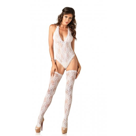 Floral Lace Deep-v Teddy and  Stockings - White - One Size