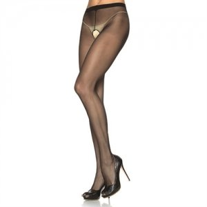 Sheer Crotchless Pantyhose  - Black - Queen Size
