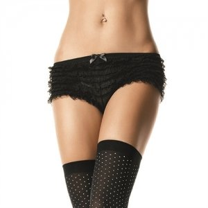Lace Ruffle Shorts - Black  - One Size