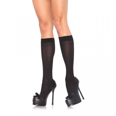 Nylon Opaque Knee Highs  - Black - One Size