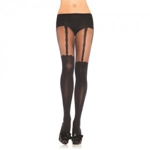 Opaque Garterbelt Look  Pantyhose - Black - One Size