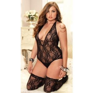 Floral Lace Deep-v Teddy with  Stockings - Black - Queen  Size