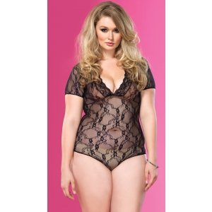 Floral Lace Deep-v Teddy  - Black - Queen Size