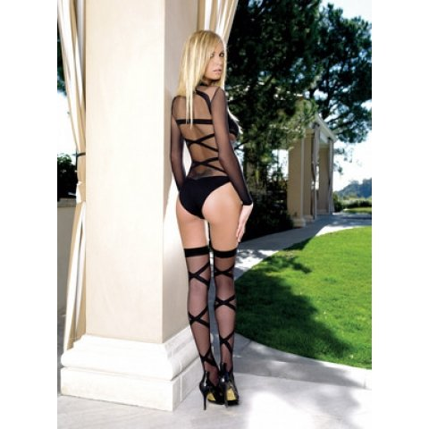 Criss Cross Teddy and Thigh  Highs - Black - One Size