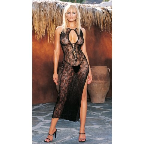 Swirl Lace Long Gown and  G-string - Black - One Size