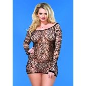 Web Net Mini Dress - Black -  Queen Size