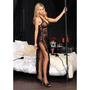 Rose Lace Long Gown and  G-string - Black - One Size