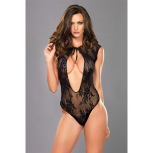 Lace G-string Teddy with  Keyhole - Black - One Size