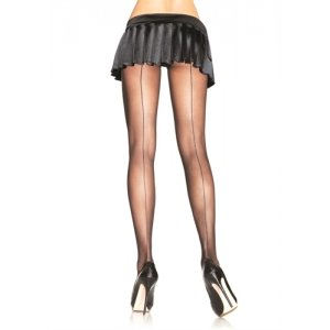 Sheer Backseam Pantyhose  - Black - One Size