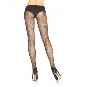 Fishnet Backseam Pantyhose  - Black - Queen Size