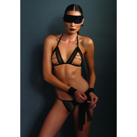 Kink Open Cup Bra and G-string  Set with Mask and Restraints