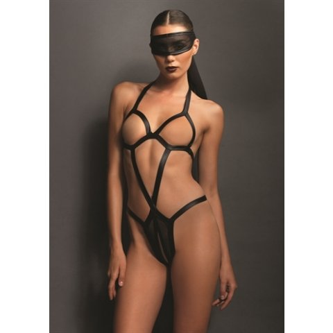 Kink Open Cup Teddy with  Crotchless Panty and Mask