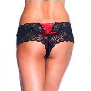 Butterfly Lace Tanga Panty  - Black/red
