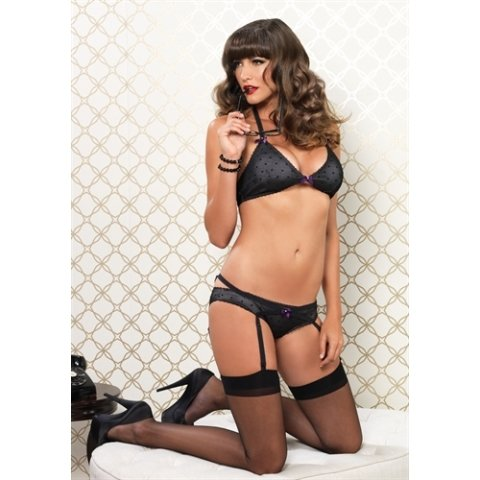 Mesh Dotted Halter Bra and  Panty Set - Black