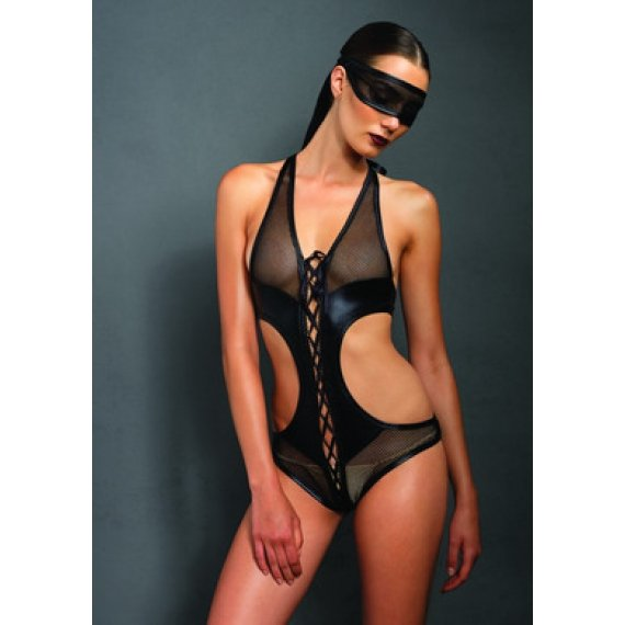 Kink Fishnet Crotchless Teddy  with Mask