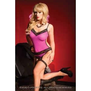 Mesh Crotchless Teddy -  Magenta - One Size