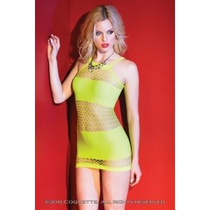Horizontal Knit and Fishnet  Dress - Neon Yellow - One  Size