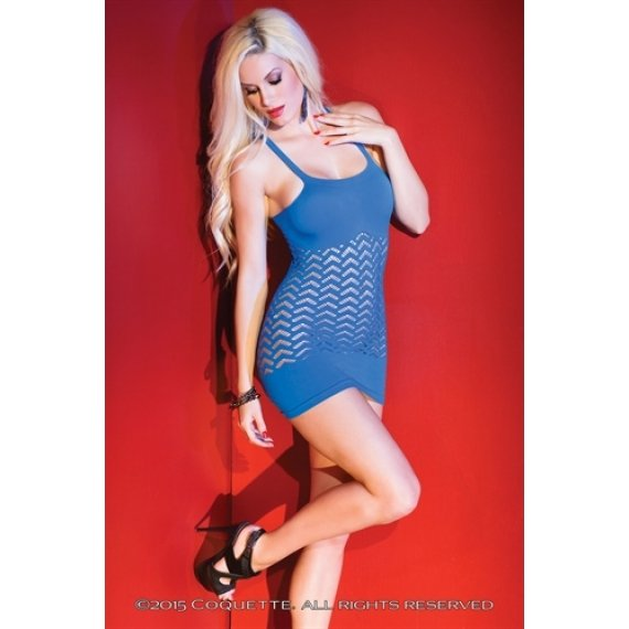 Patterned Fishnet and Knit  Dress - Blue - One Size