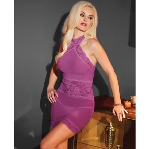 Mesh Halter Dress - Magenta -  One Size