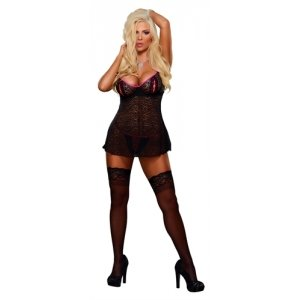 Peek-a-boo Babydoll and  G-string - Black
