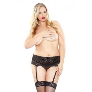 Stretch Lace Garterbelt and  Stocking Set - Black - Queen Size