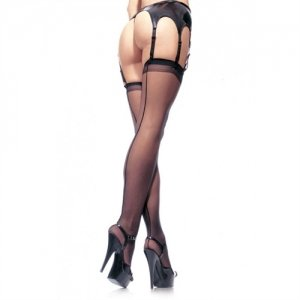 Sheer Backseam Stocking  - Black