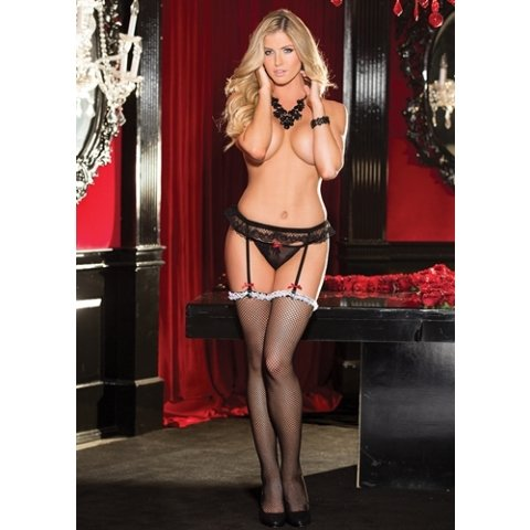 Lace Garterbelt and Ruffle Top  Fishnet Stocking Set - Black  - One Size