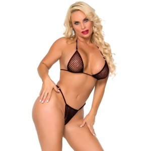 Cocolicious Nice Set Fishnet  Bikini Set - Black - One Size