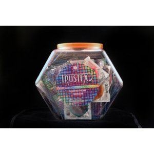 Trustex Dual Color Lubricated Latex Condoms - 100 Count With Display