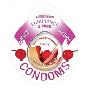 Endurance Cherry Flavored Condoms - 3 Pack