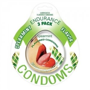 Endurance Spearmint Flavored Condoms - 3 Pack