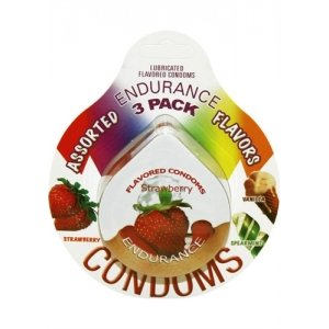 Endurance Assorted Flavored Condoms - 3 Pack