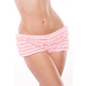 Ruffle Booty Shorts - Pink - One Size