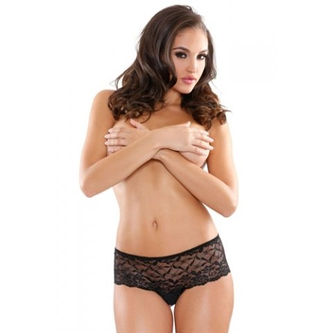 Pearl and Lace Crotchless  Boyshort - Black - One Size