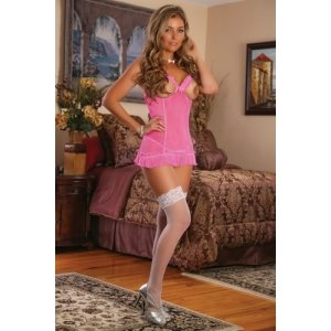 Cupless Chemise and G-string Set Pink - 2x