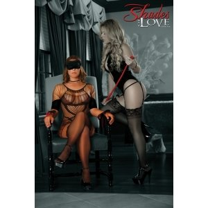 Seamless Dress with 3-piece  Bondage Set - Black - One  Size