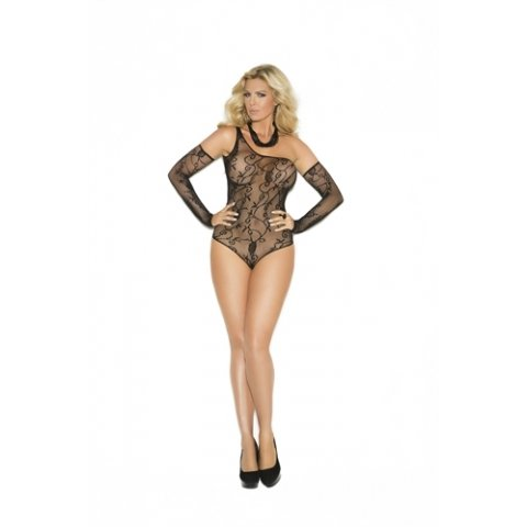 Floral Fishnet Teddy and  Gloves - Black - Queen Size