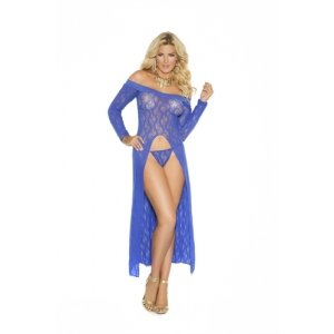 Long Sleeve Lace Gown - Blue  - Queen Size
