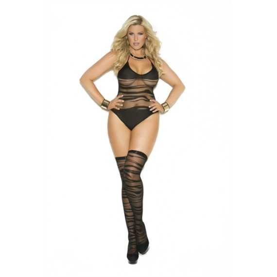 Opaque and Sheer Teddy and  Stockings - Black - Queen  Size