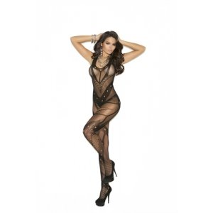 Crochet Net Bodystocking  - Black - One Size