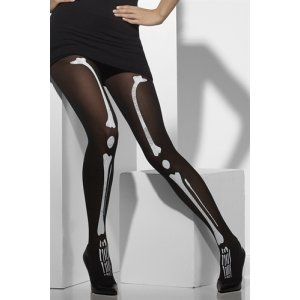 Skeleton Print Opaque Tights  - One Size