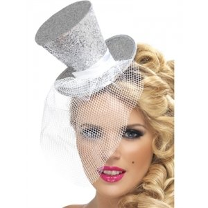 Mini Top Hat on Headband -  Silver