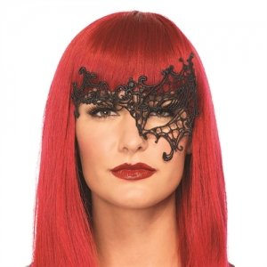 Daring Venetian Applique Eye  Mask - Black