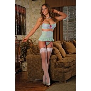 Bra Retro Rise Garter and G-string Set