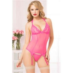 Lace and Mesh Bustier W/thong - Pink - One Size