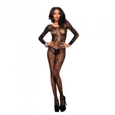 Seamless Swirl Lace Long Sleeve Bodystocking