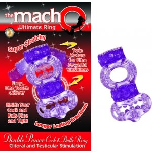 The Macho Collection Double Power Cock and Balls Ring - Purple