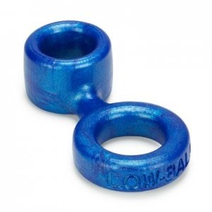 Lowball Cockring with Attached Ballstretcher - Blue Balls