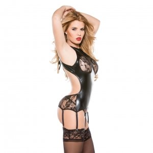 Kitten Lace and Wet Look Corset Top - One Size