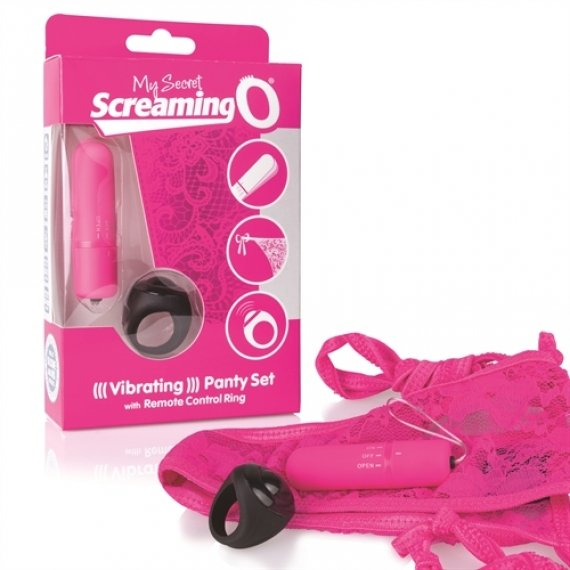 My Secret Screaming O Vibrating Panty Set with Remote Control Ring - Pink